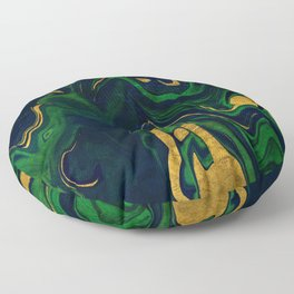 Rhapsody in Blue and Green and Gold Floor Pillow