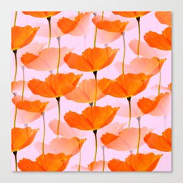 Orange Poppies On A Pink Background #decor #society6 #buyart Canvas Print