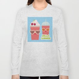 Hello Summer Kawaii cherry smoothie Long Sleeve T-shirt