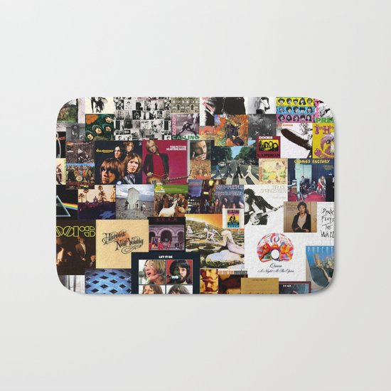 Classic Rock And Roll Albums Collage Bath Mat