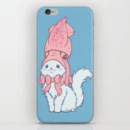 White Cat Wears Squid Hat iPhone Skin
