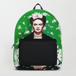 Frida Kahlo picture green background filter effect doll look Backpack