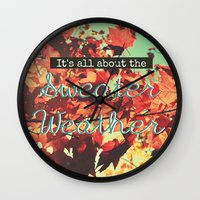 sweater Wall Clocks featuring Sweater Weather by RDelean
