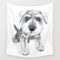 karen hallion Wall Tapestries featuring Schnozz the Schnauzer by Beth Thompson