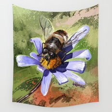 Bee on flower 18 Wall Tapestry