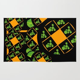 Orange and Green Spaces 100 Rug