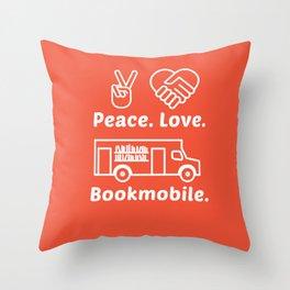 Peace. Love. Bookmobile Throw Pillow