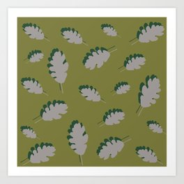 Oak leaves pattern guacamole gray Art Print