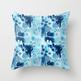Study in blue, watercolor Throw Pillow