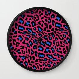 Pink blue leopard print 80s Wall Clock