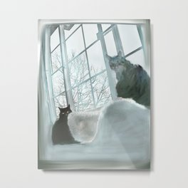 Windowsill Cats Metal Print