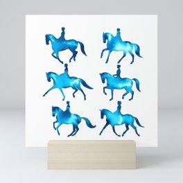 Turquoise Dressage Horse Silhouettes Mini Art Print