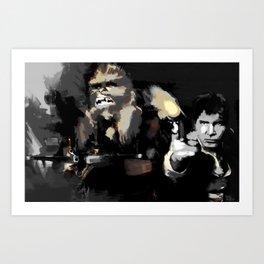 Han Solo & Chewbacca Art Print