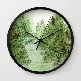 Pine Trees Christmas Forest Landscape Watercolor Wall Clock