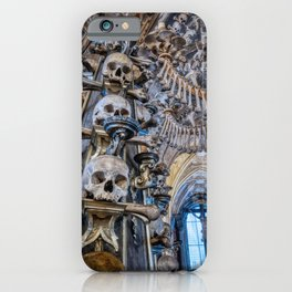Sedlec Ossuary Column Photo Art, Skull Bone Church iPhone Case