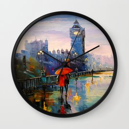 Rain in London Wall Clock