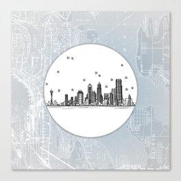 Seattle, Washington City Skyline Illustration Drawing Canvas Print