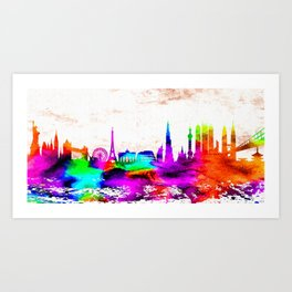 The International Skyline Watercolor Art Print