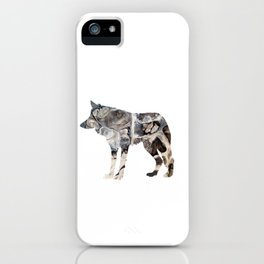Gray Abstract Fluid Art Wolf Image iPhone Case