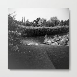 A Parisian Relaxing in a Park in Paris - Holga Film Photograph Metal Print