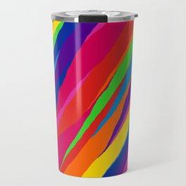 Wonky Rainbow Stripes Travel Mug