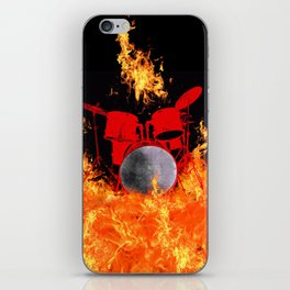 Flaming Red Drum Set iPhone Skin
