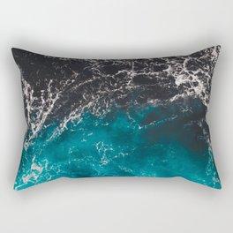 Wavy foamy blue black ombre sea water Rectangular Pillow