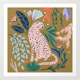 Modern cheetah jungle print Art Print