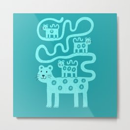 Leopard and cubs on teal Metal Print