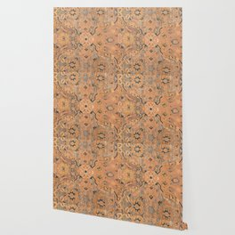 Persian Motif IV // 17th Century Ornate Rose Gold Silver Royal Blue Yellow Flowery Accent Rug Patter Wallpaper