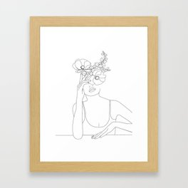Minimal Line Art Woman with Flowers II Gerahmter Kunstdruck