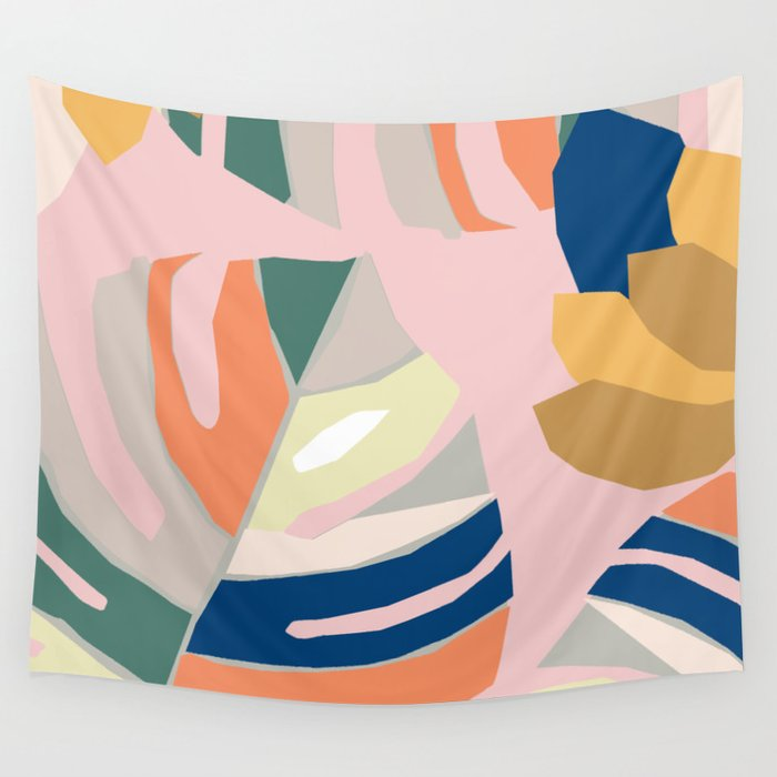 Monstera leaf Jungle mid century modern paper collage Wall Tapestry