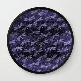 Purple Dragonfly Twighlight Dance Wall Clock