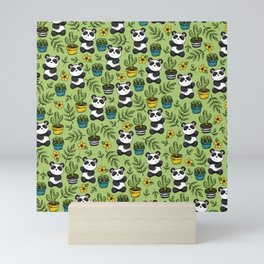 Little Panda Print, Baby Panda, Panda Bear, Boho Panda, Succulents and Flower Mini Art Print