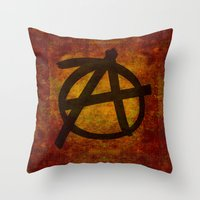 anarchy Throw Pillows featuring Distressed Anarchy by Bruce Stanfield