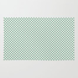 Grayed Jade and White Polka Dots Rug
