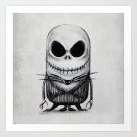 jack skellington Art Prints featuring Mini Jack Skellington by bimorecreative