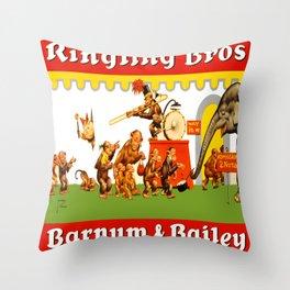 Retro Circus Poster - Monkeys Throw Pillow