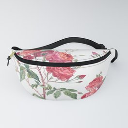 Vector hand drawn roses in vintage antique botanical watercolor style Fanny Pack