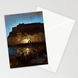 Fireworks in Naples by Oswald Achenbach Stationery Cards