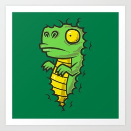 Dino In The Bushes Art Print