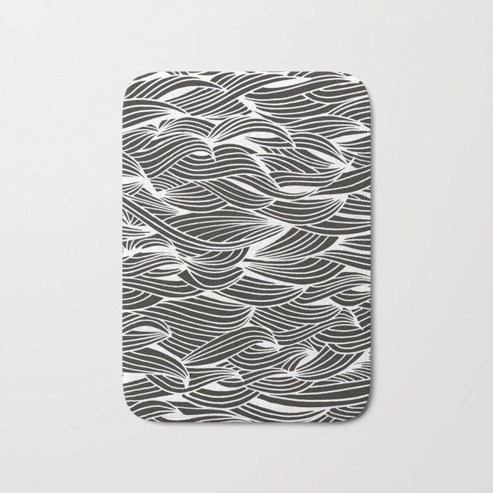 Waves – White Ink on Black Bath Mat