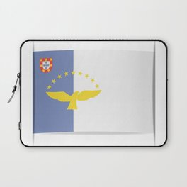 Flag of Azores. The slit in the paper with shadows. Laptop Sleeve