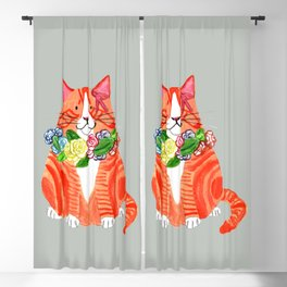 Marmalade Cat with Flower Crowns Blackout Curtain