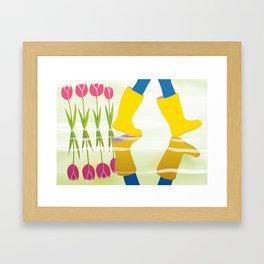 yellow boots Framed Art Print