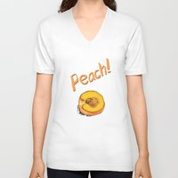 peach V-neck T-shirts featuring Peach by Ken Coleman