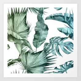 Tropical Palm Leaves Turquoise Green Blue Gradient Art Print