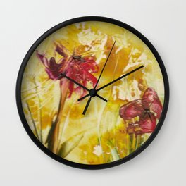 Abstract Red Poppies From Original Encaustic Art Wall Clock