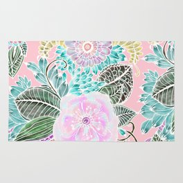 Blush pink lavender green white watercolor hand painted flowers Rug