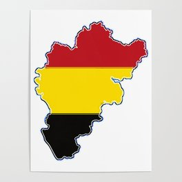 Belgium Map with Belgian Flag Poster